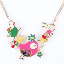 Newei Statement Necklace Chick Enamel Gold Plate Alloy Long Chain Pendants 2016 New Jewelry For Women Collares Accessories(China)