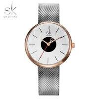 Shengke New Fashion Brand Women Causal Wrist Watches Mesh Belt Mix Match Luxury Female Dress Quartz