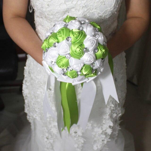 Hand Made Высокое Качество Бисера Брошь Шелковый Цветок Невесты Свадебный Свадебный Букет Невесты Европа США Стразы Искусственные Цветы
