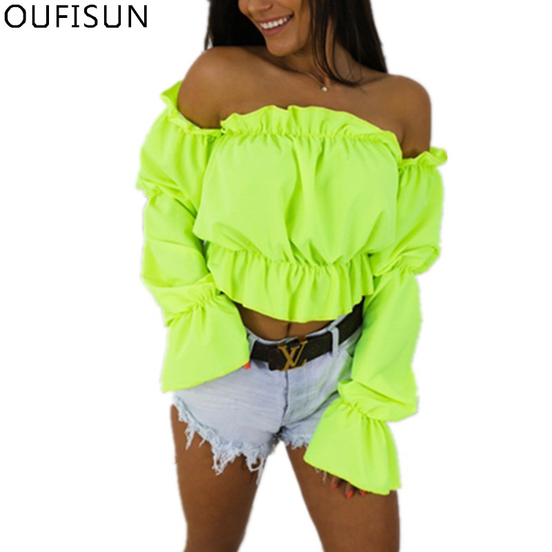 Oufisun Summer Solid Sexy Off Shoulder Women 39 s Shirts Crop Chiffon Tops Slash Neck Lantern Sleeve Dot Print Short Female Blouse in Blouses amp Shirts from Women 39 s Clothing