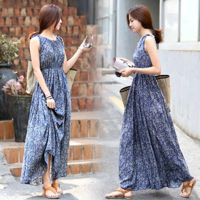 Blue Long Printed Sleeveless