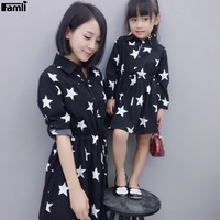 Famli 1pc Mother Daughter Dresses Autumn Fashion Matching Family Mommy Me Outfit Dresses Clothes Set Moeder
