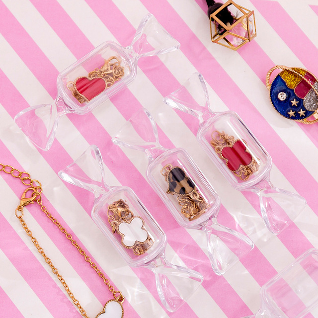 Cute Teen Girls Candy Shape Transparent MakeUp Storage Box Mini Portable Earrings Jewelry Bag Travel Cosmetic Case Organizer 2