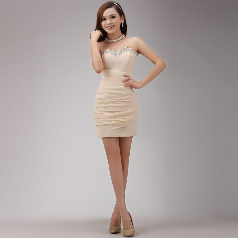 89ab6558b5fc short tight champagne dress bridal evening dress short tight prom dresses  evening dress 2014 new arrival