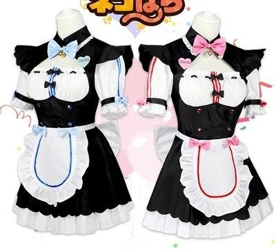 Anime!NEKOPARA Chocolat Vanilla Twin Sisters Maid Outfit Cosplay Costume dress+apron+tie bell+head band+wrist guard+back bowknot