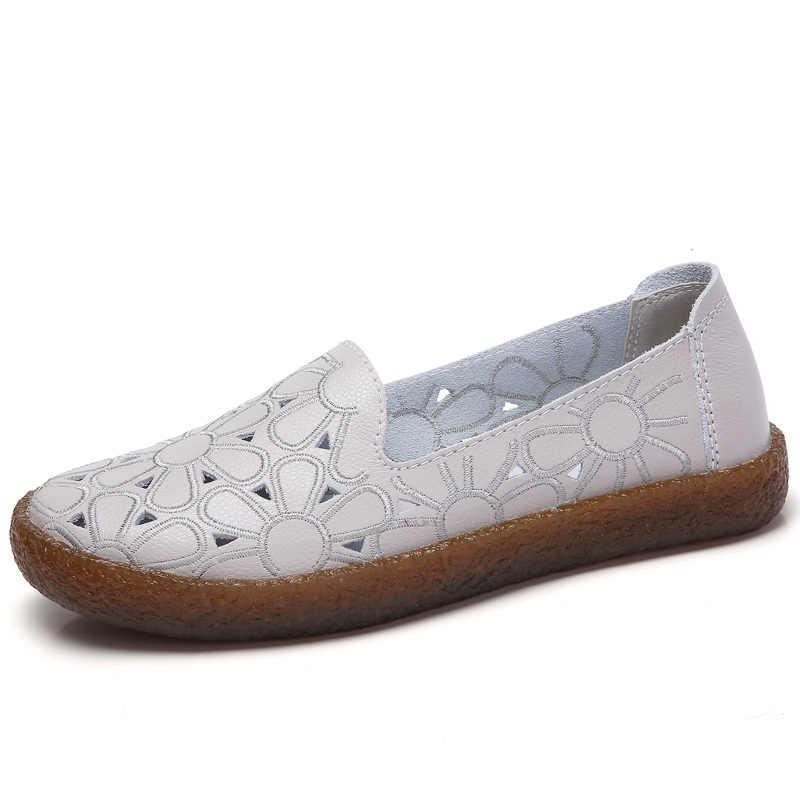 AARDIMI Çiçek Kadınlar Hakiki deri ayakkabı Yaz Sığ Üzerinde Kayma Kadın düz ayakkabı cut-çıkışları kadın Mokasen Mokasen Femme