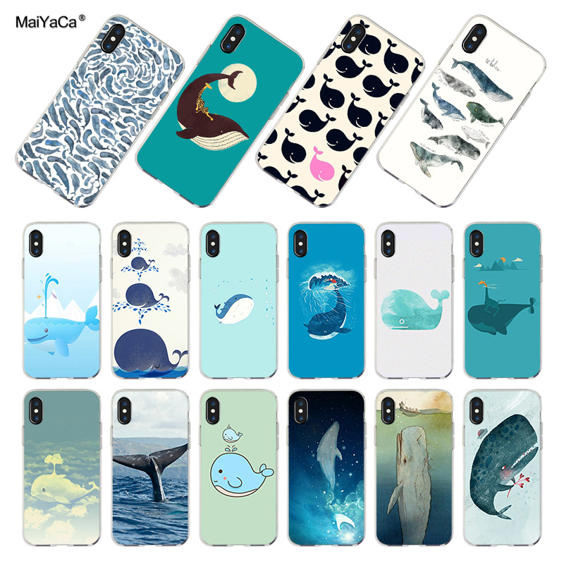 MaiYaCa <font><b>Funny</b></font> whale Transparent Soft Cell Phone accessories <font><b>case</b></font> Cover For <font><b>iPhone</b></font> X XS MAX XR 6 5s 6s 7 8 7plus 11pro max <font><b>case</b></font> image