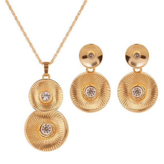 free shipping golden round design necklace earrings two ornaments