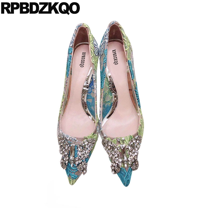 Lace Blue Slip On 3 Inch Rhinestone Sexy Women Shoes Rhinestones Pumps Stiletto Luxury Pointed Toe Glitter High Heels Spring