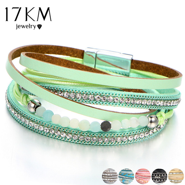 2018 Fashion Stone Leather Bracelets For Woman Female Charm Multiple Layers Brac