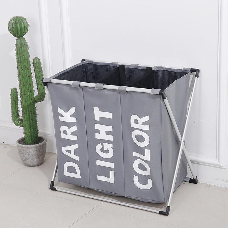 Waterproof laundry basket Separated Oxford hamper toilettas hamper 3 grids Environmentally Foldable Oxford Storage laundry bag