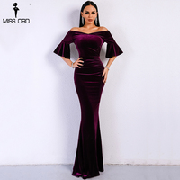 Missord 2018 Women Sexy Off Shoulder Speaker Sleeve Female Dresses Velvet Solid Color Bodycon Elegant Maxi Party Dress FT9080