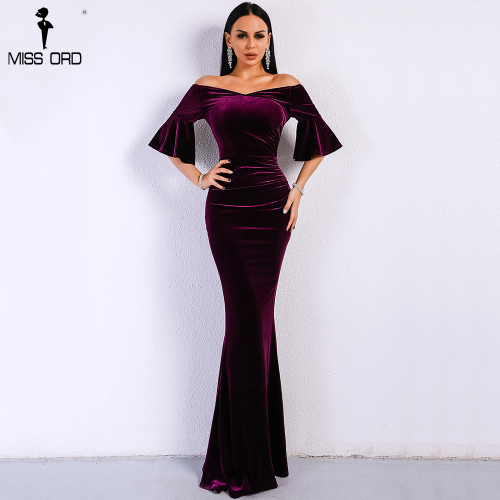 Missord 2019 Women Sexy Off Shoulder Speaker Sleeve Female Dresses Velvet  Solid Color Bodycon Elegant Maxi Party Dress FT9080 610254718df9