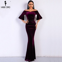 Missord 2019 Women Sexy Off Shoulder Speaker Sleeve Female Dresses Velvet Solid Color  Bodycon Elegant Maxi Party Dress FT9080