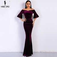 Missord 2020 Frauen Sexy Off Schulter Lautsprecher Hülse Weibliche Kleider Samt Einfarbig Bodycon Elegante Maxi Party Kleid FT9080