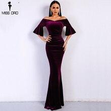 Party Dress Velvet Off-Shoulder Speaker-Sleeve Maxi Bodycon Elegant Sexy Solid-Color