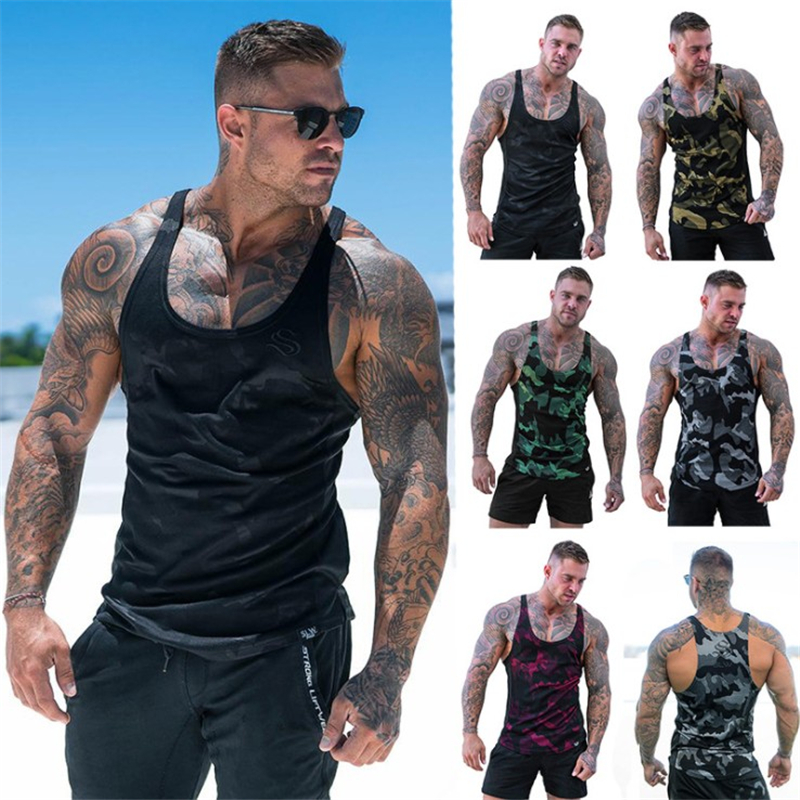 Men   Tank     top   gyms clothing Summer 2019 Camouflage Open-Forked Printed Sports Quick-drying breathable Male Vest Plus Size