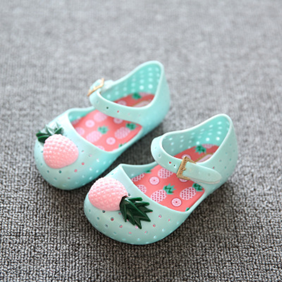2017 Mini Pineapple Fruit Hole Summer Jelly Children's Shoes Hot Sale Plain Rain Boot Baby Children Toddler Kids Sandals