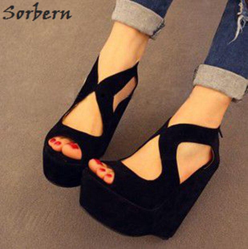 Sorbern Casual Wedge Heels For Women Sandals Platform Open Toe Sandalias Elegantes Summer Sandles Diy Colors