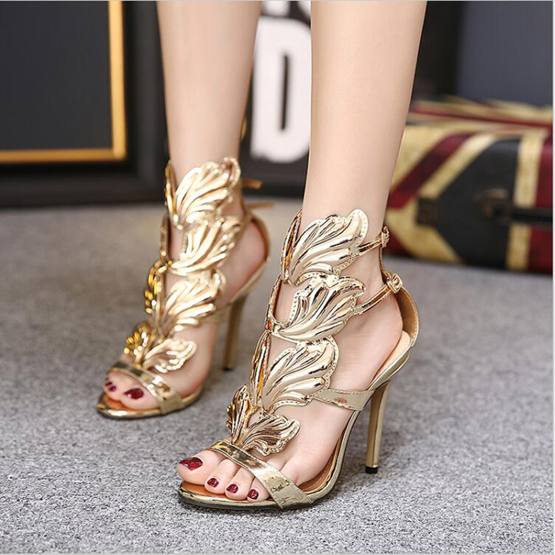 2017 New Summer Women High Heels Gold Winged Leaves Cut-outs Stiletto Gladiator Sandals Flame Party High heel Sandal Shoes Woman 2015 new deluxe brand 100% high quality flat summer women knee high gladiator sandals genuine leather cut outs cover heel shoes
