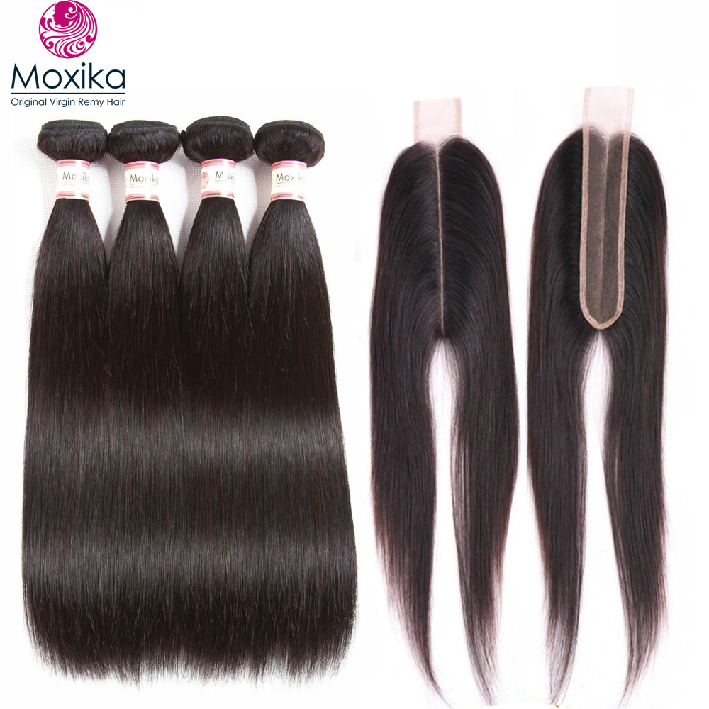 Moxika Peruvian Straight Hair 4 Bundles With Closure 5pcs/lot Kim K Middle Part 2x6 Inch 100% Remy Human Hair With Closure Home