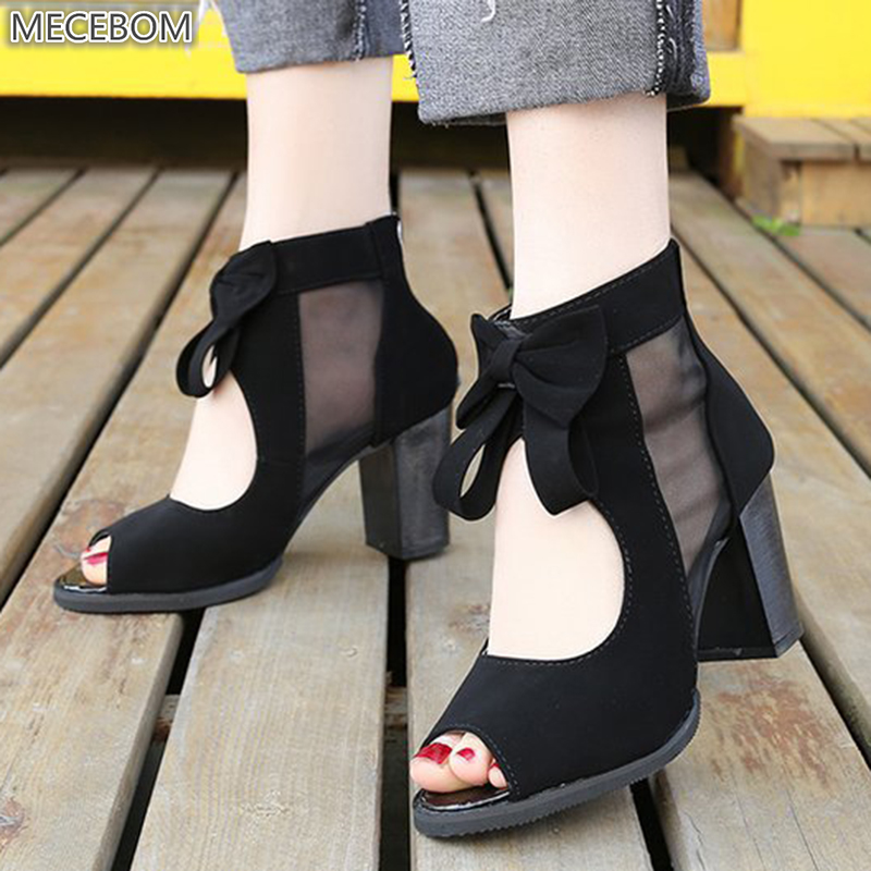 Women Pumps High Thick Black Heels Ladies Shoes Riband Butterfly Knot Zipper Open Toe Casual wedding Party Dress Sandals 0405W 1