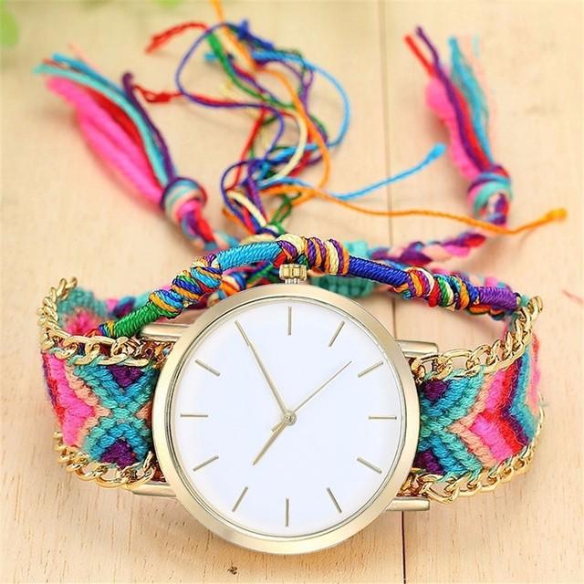 Fashion Women Friendship Bracelet Watches Bohemian Handmade Braided Rope Watch Q