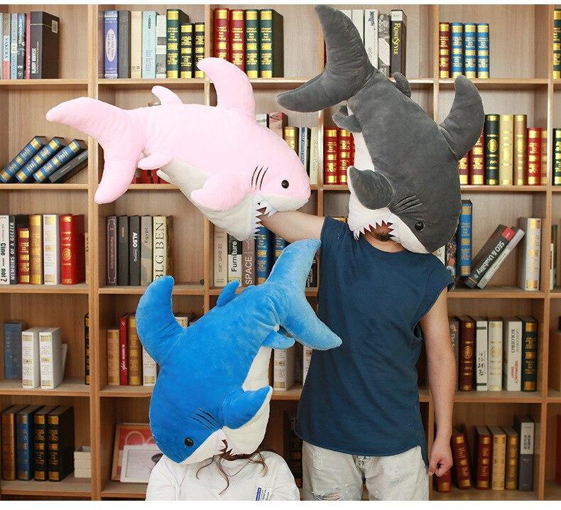 1 pc 90 cm creative grand requin drôle en peluche poupée prank oreiller coussin en peluche jouet enfants maison décoration festival cadeau