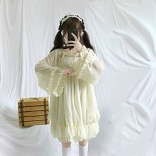Japanese Harajuku Women 2 Pcs Lolita Dress Party Mini Kawaii Ruffles Chiffon