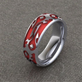 LASAMERO World of Warcraft Inspired Red Horde Ring 925 Sterling Silver Plate Platinum Men's Cocktail Wedding Band