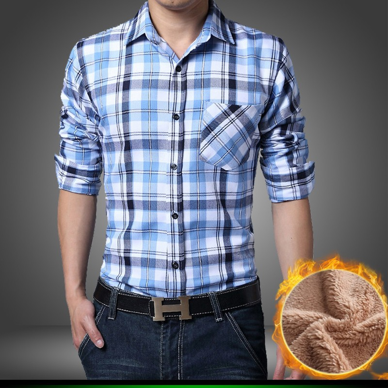 Men winter velvet shirt fashion warm cotton fleece lined for Thick long sleeve shirts