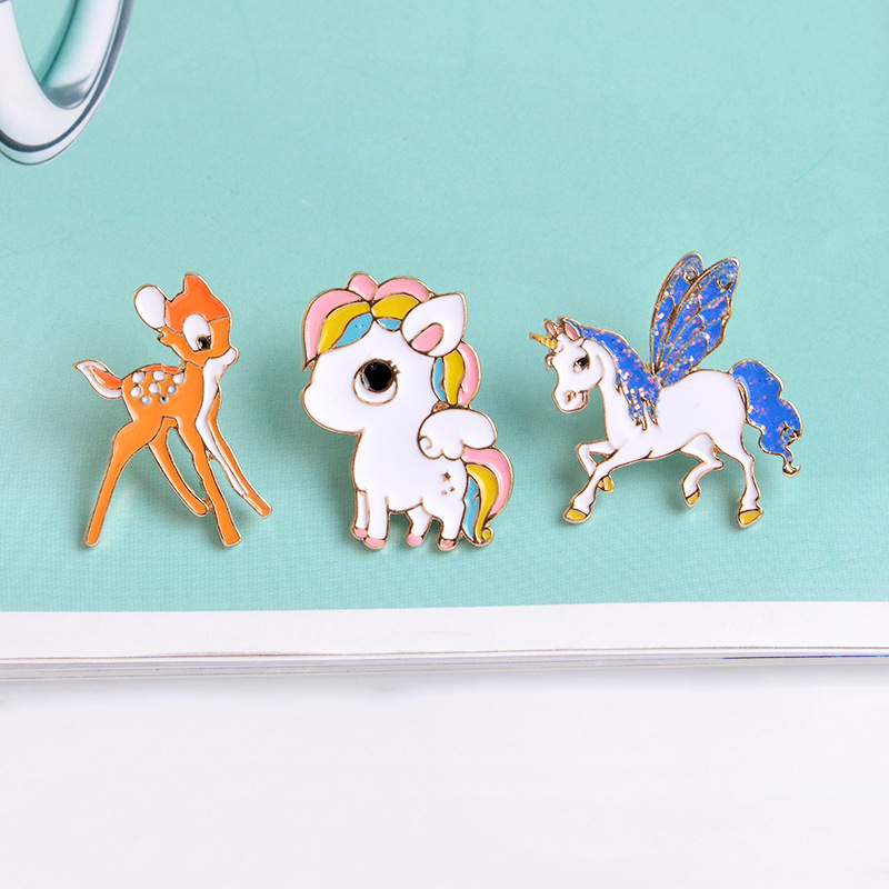 The New 3 Style Enamel Pony Horse Unicorn Deer Brooch <font><b>Pin</b></font> <font><b>Button</b></font> Jacket Collar Badge For Women Men Child Cartoon Animal Jewelry image