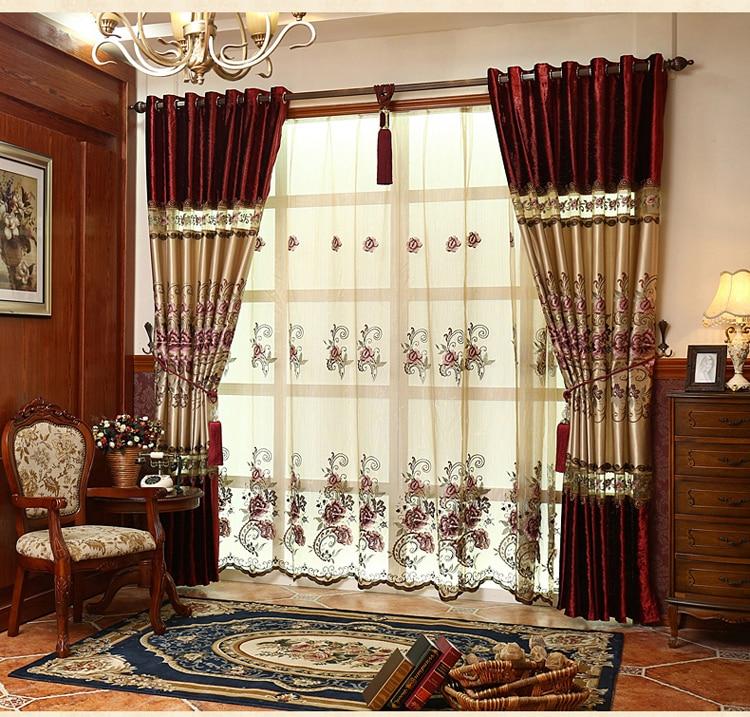 FYFUYOUFY högkvalitativ sammet gardin för vardagsrum Blombroderade - Hemtextil - Foto 5