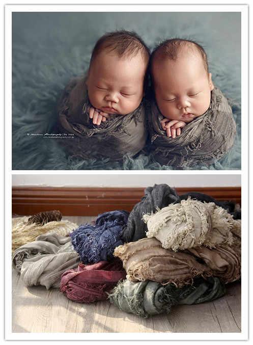 ソフトレトロ生地新生児写真撮影充填新生児チーズクロスラップ、写真プロップリネンベベ衣装アクセサリー