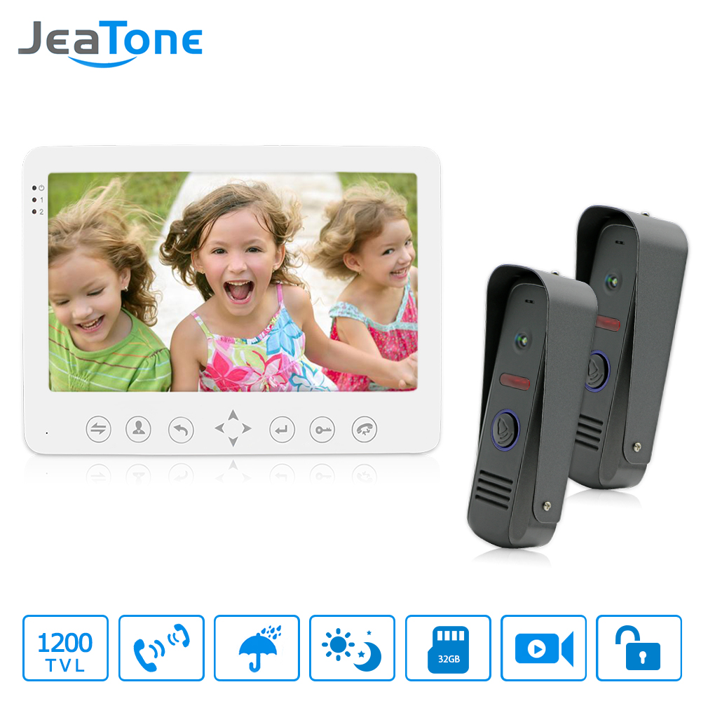 JeaTone 7 Color Video Door Phone Doorbell Video Intercom Doorphone IR Night Vision Camera Doorbell Kit Home Apartment Security jeatone 10 hd wired video doorphone intercom kit 3 silver monitor doorbell with 2 ir night vision 2 8mm lens outdoor cameras