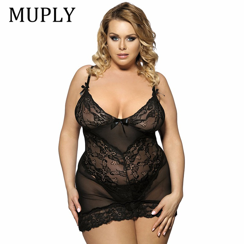 MUPLY Plus Size 3XL 5XL <font><b>7XL</b></font> Women <font><b>Sexy</b></font> <font><b>Lingerie</b></font> Hot Large Code <font><b>Sexy</b></font> Underwear Princess High-grade Pajamas Erotic Lace <font><b>Lingerie</b></font> image