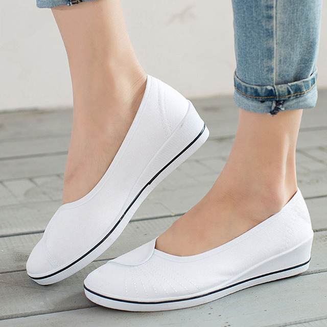 Women Slip On Canvas Soft Platform Autumn Loafers Ladies Casual Shallow  Wedges Female Fashion Breathable Nurse Mother Shoes db0d287e7a90