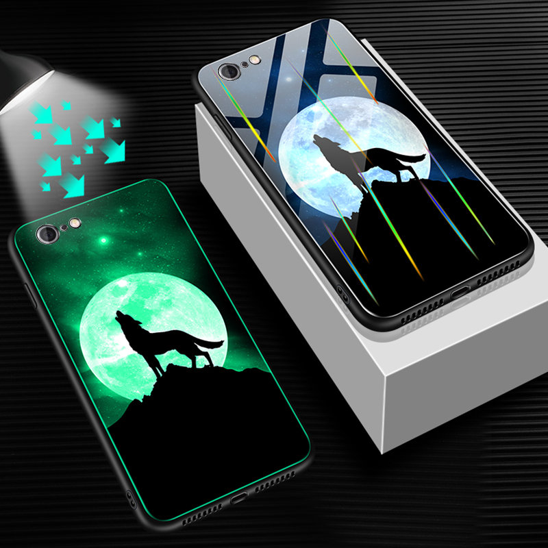 HTB14wljU4jaK1RjSZFAq6zdLFXam Luminous Tempered Glass Case For iPhone 5 5S SE 6 6S 7 8 Plus Case Back Cover For iPhone X XR XS 11 Pro Max Case Cover Cell Bag