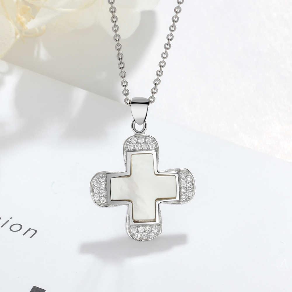 أنيقة S925 فضة مجوهرات زركون الصليب قلادة أم اللؤلؤ 925 فضة القلائد للنساء (لام محور فونغ)