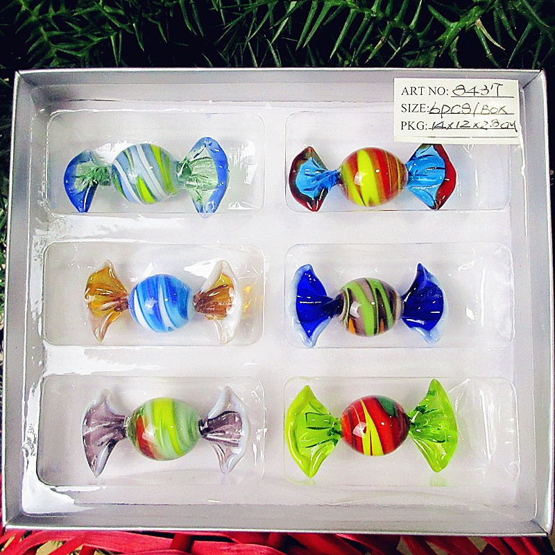 6pcs New custom antique hand made Murano glass sweets Christmas Decoration ornaments glass candy pendant creative new year gifts in Wind Chimes Hanging Decorations from Home Garden