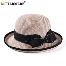 BUTTERMERE Straw Women Hat Pink Beach Sun Hats Female Elegant Bowknot Spring Summer Ladies Vacation Cute Anti-uv And Caps