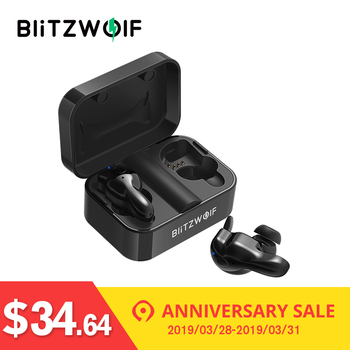 Blitzwolf bluetooth V5.0 TWS Wireless Earphone Stereo Earbuds Waterproof Microphone Sport Headsets with Charging Box for Phone