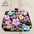 Luxury charm fashion colorful flowers spring party dinner dinner clutch  bag evening bag purse ladies shoulder bag chain handbag