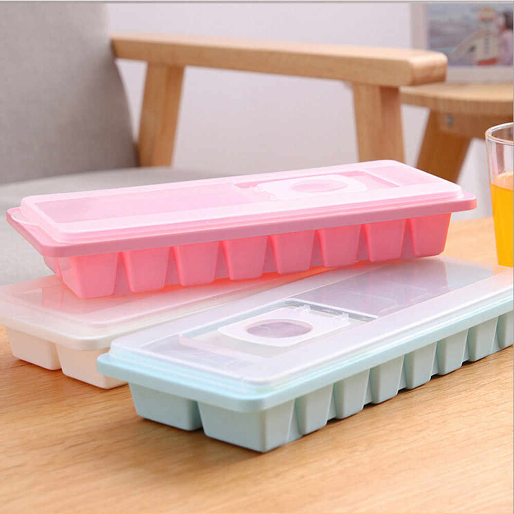 16 Cavity Ice cube tray 2018 hot Ice Cube Box With Lid Cover Drink Jelly Freezer Mould ice Maker Stocked Kitchen Tools GIFT fk4