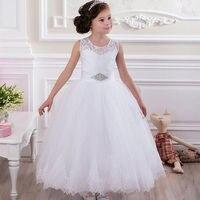 Lace Vintage Pierwsza Komunia Suknie Z Bez Rękawów Flower Girl Dresses Suknia Balowa Tiul Matka Córka Sukienki Dla Dziewczynek Party