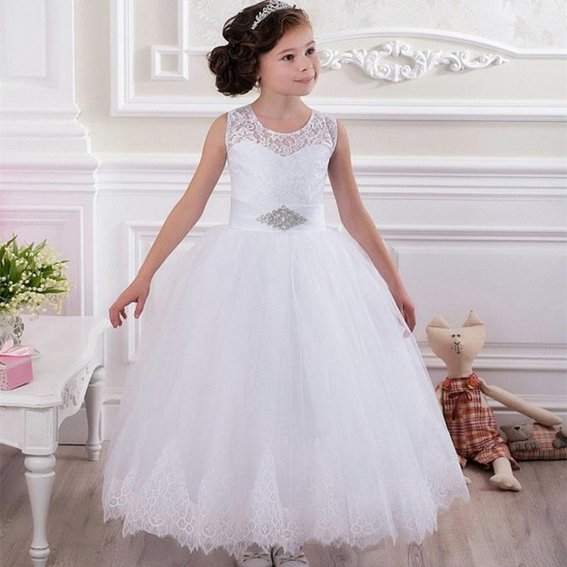 Lace Vintage First Communion Dresses With Sleeveless Flower Girl Dresses Ball Gown Tulle Mother Daughter Dresses For Girls Party new spring pretty flower girls dresses tulle communion gown ball gown mother daughter dresses lace holy communion dresses