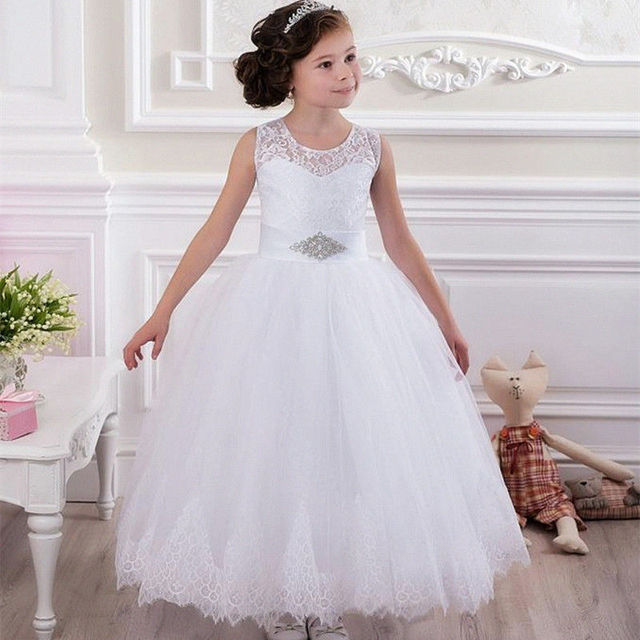 lace vintage first communion dresses with sleeveless flower girl