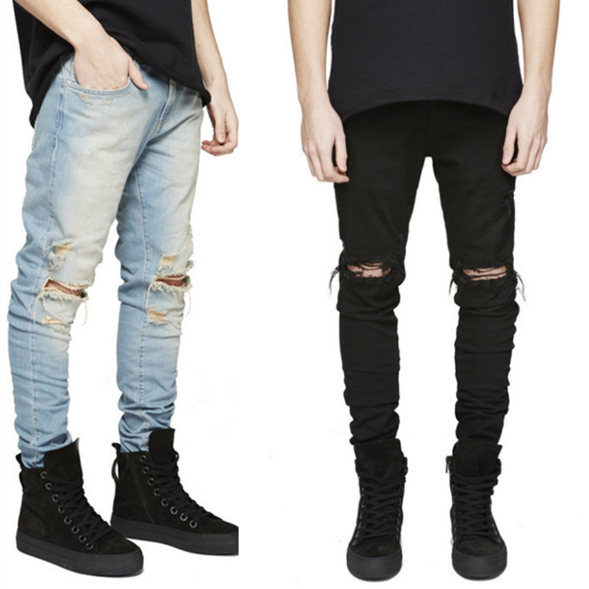 buy designer skinny pencil jeans homme pants washed knee scratched distressed. Black Bedroom Furniture Sets. Home Design Ideas