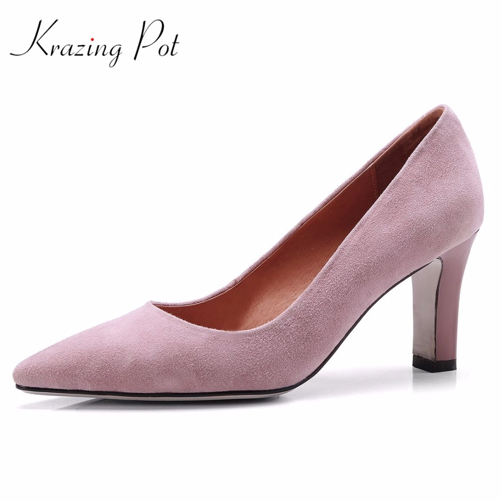 Krazing pot 2018 kid suede women brand shoes high heels slip on woman pumps pointed toe shallow concise  nude summer shoes L9 krazing pot empty after shallow shoes woman lace work flats pointed toe slip on sheep suede causal summer outside slippers l16