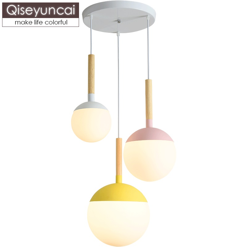 Qiseyuncai Nordic modern magic beans sphere glass three heads restaurant chandelier living room simple wood lamps free shippingQiseyuncai Nordic modern magic beans sphere glass three heads restaurant chandelier living room simple wood lamps free shipping